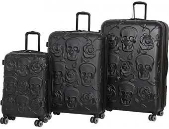 52% off it luggage Skull Emboss 3 Piece Spinner Luggage Set