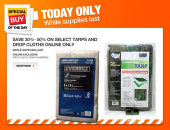 Up to 50% off Tarps & Drop Cloths at Home Depot