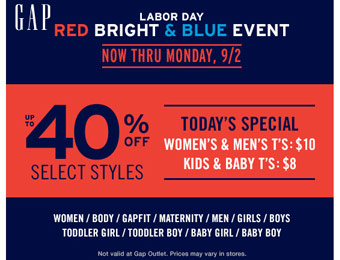 Gap Labor Day Sale Event: Up to 40% off Select Styles