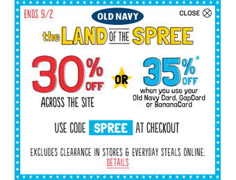 Extra 30% off Your Purchase at Old Navy w/code: SPREE