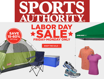 Save 15% - 60% off during the Sports Authority Labor Day Sale