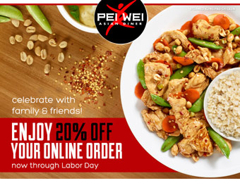20% off Online Orders at Pei Wei w/code: WEEKEND