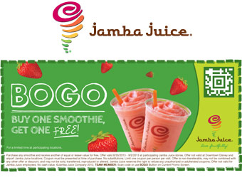 Deal: Jamba Juice Fruit Smoothies, Buy One Get One Free Coupon
