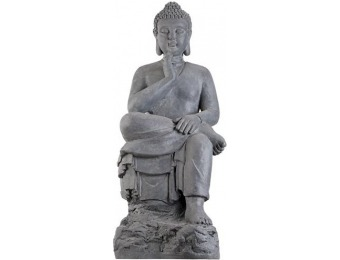 "66% off Sitting Buddha 27 1/2"" High Stone Gray Outdoor Statue"
