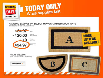 36% off Monogrammed Door Mats, Several Styles