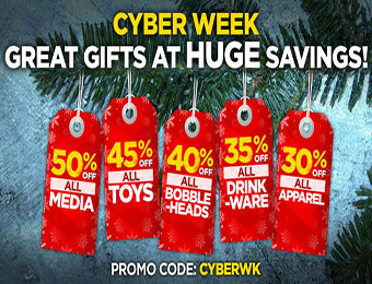 50% off all media, 45 % off all toys, 30% off all apparel