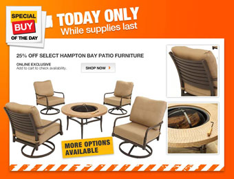 Extra 25% off Select Hampton Bay Patio Furniture