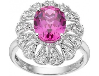 80% off Lab-Created Pink Sapphire Sterling Silver Oval Ring