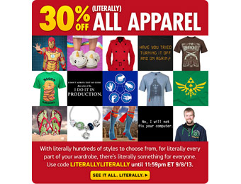 Extra 30% off All Apparel (over 800 items) w/code: LITERALLYLITERALLY