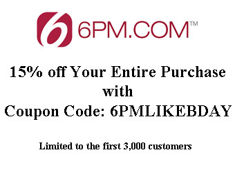 Extra 15% off Your Entire Purchase w/code: 6PMLIKEBDAY
