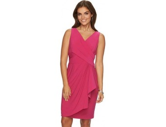 72% off Petite Chaps Drape-Front Ruched Dress