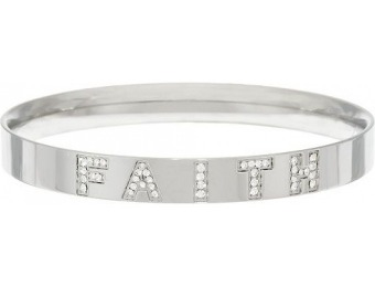 70% off Stainless Steel Crystal Message Bangle