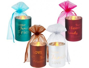 "69% off Set of 4 Glass ""Words To Live By"" Flameless Candles"