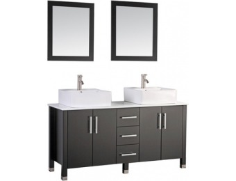 50% off MTD Aruba Espresso Vessel Double Sink Oak Bathroom Vanity