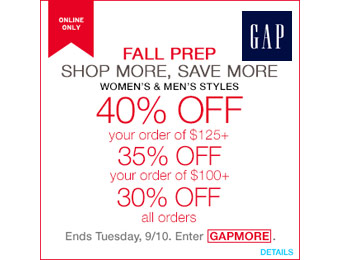 Extra 30% off Your Entire Purchase at Gap.com w/code: GAPMORE