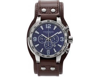 75% off Akribos Xxiv Men's Extremis Leather Chronograph Watch