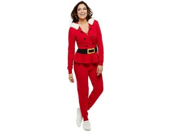 65% off Bethany Mota Zip Front Hooded Santa Jumpsuit