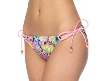 80% off Juniors' Breaking Waves Peacock Hipster Bikini Bottoms