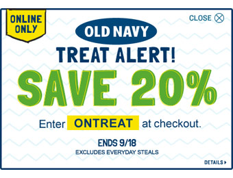 Save 20% off Your Old Navy Purchase w/code: ONTREAT