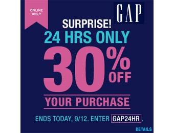 Gap 24 Hour Sale, Save an Extra 30% off w/code: GAP24HR