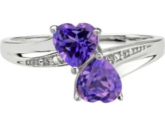 76% off Sterling Silver Double Heart Amethyst Ring