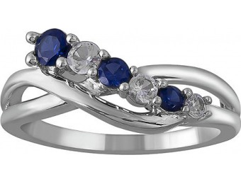 88% off Sterling Silver Created Sapphire Graduated Ring
