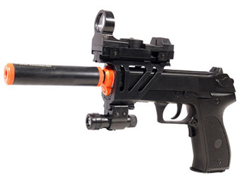 60% off Auto Tactical 2026A Airsoft Pistol w/ Flashlight, Red Dot Scope