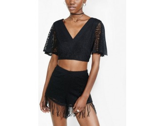 73% off Express Womens Black Fringed Crochet Shorts