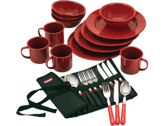 Coleman 24-Pc Enamel Dinnerware Set