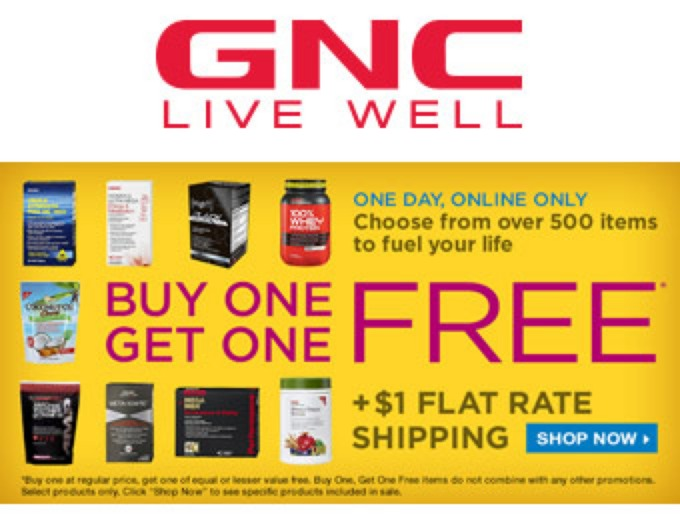 Buy One, Get One Free on Tons of Items at GNC.com