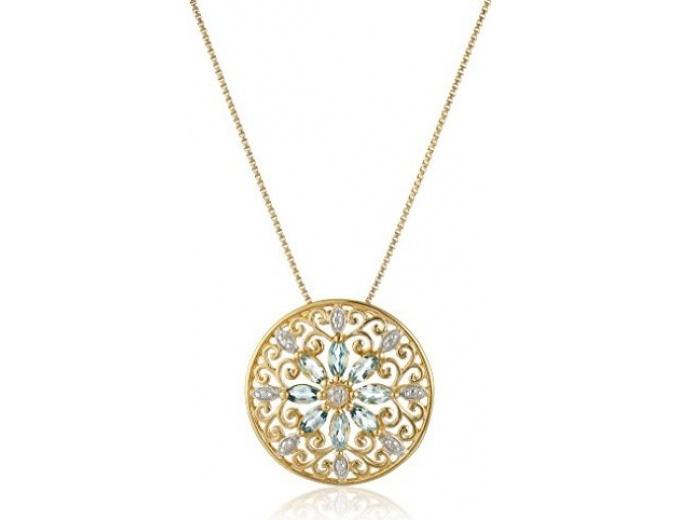 18k Plated Silver Mandala Topaz Necklace