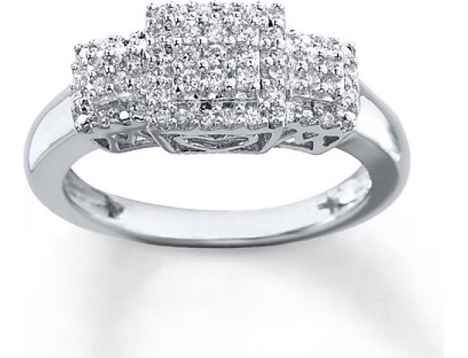1/6 cttw Sterling Silver Diamond Ring
