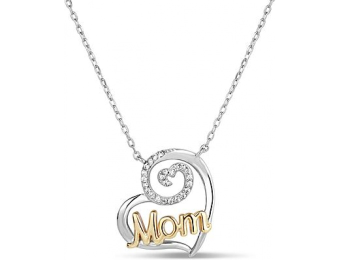 Sterling Mom Cubic Zirconia Heart Pendant