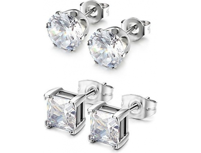 2 Pairs Stainless Steel CZ Stud Earrings