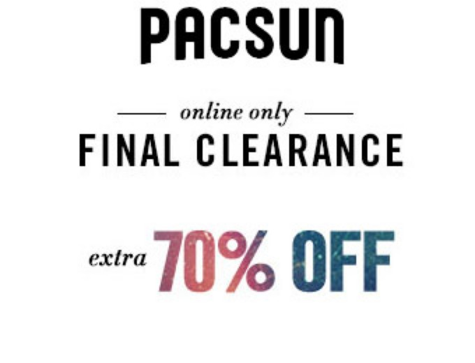 Extra 70% off Men's & Women's Apparel at PacSun