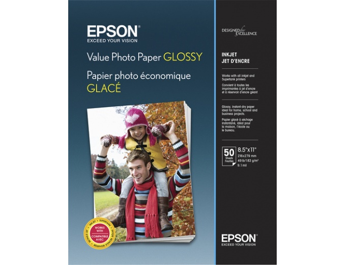"Epson Glossy Photo Paper 8.5"" x 11"" 50-Ct"