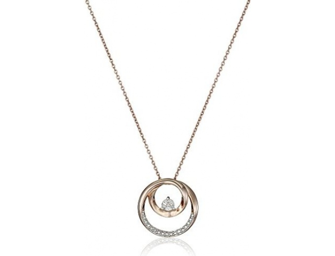 Silver Pink Gold Diamond Circle Necklace