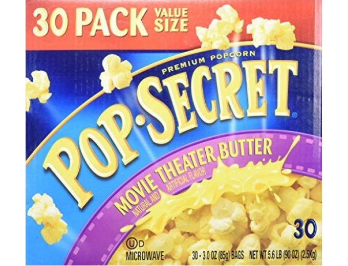 Pop Secret Theater Butter Popcorn, 30 Pack