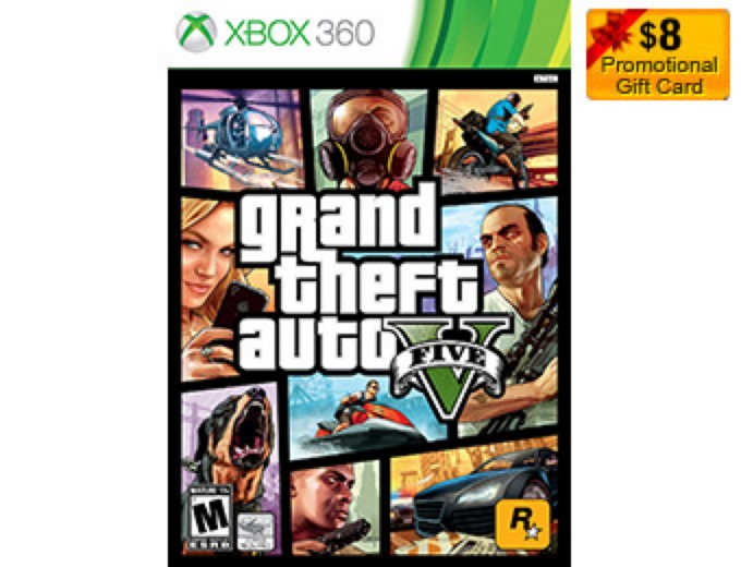 $8 Gift Card with Grand Theft Auto V Xbox 360
