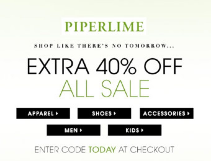 Extra 55% off Everything at Piperlime
