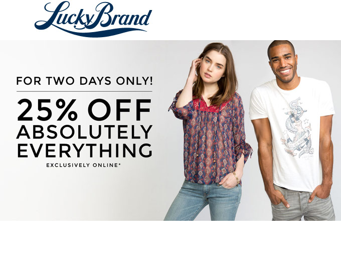 Extra 25% off Everything at Lucky Brand
