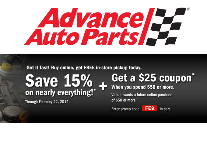 Save 15% off at Advance Auto Parts