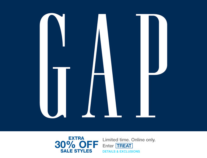 Extra 30% off Sale Styles at the Gap.com