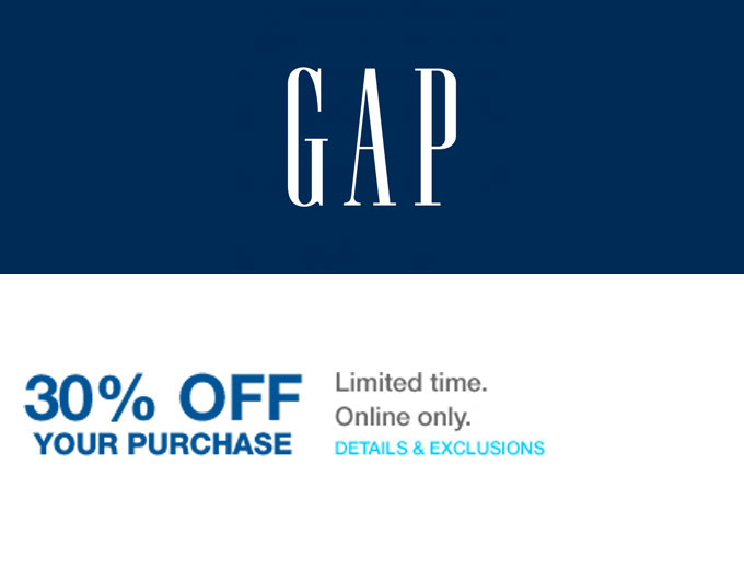 Extra 30% off Your Purchase at Gap.com