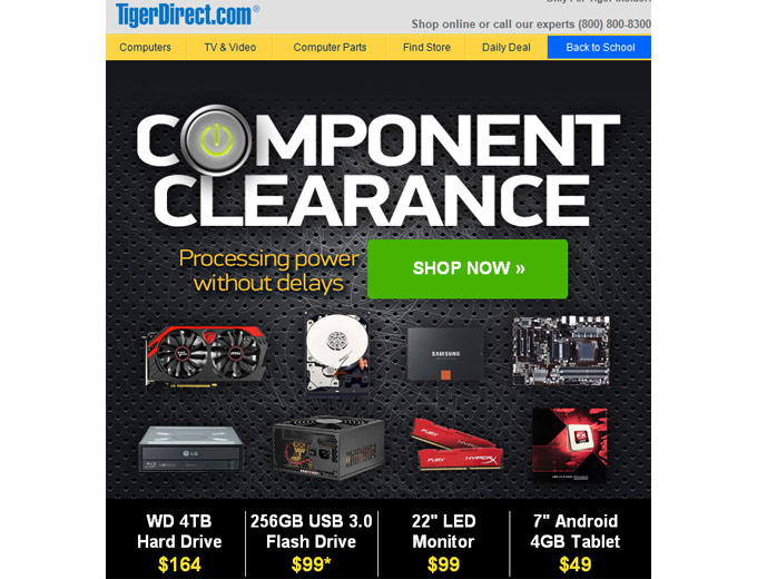 Tiger Direct Computer Component Sale