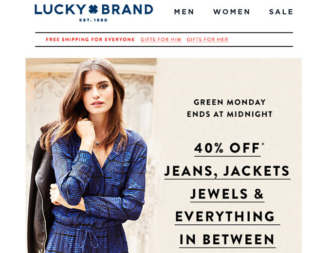 Green Monday 40% off Everything at Lucky Brand