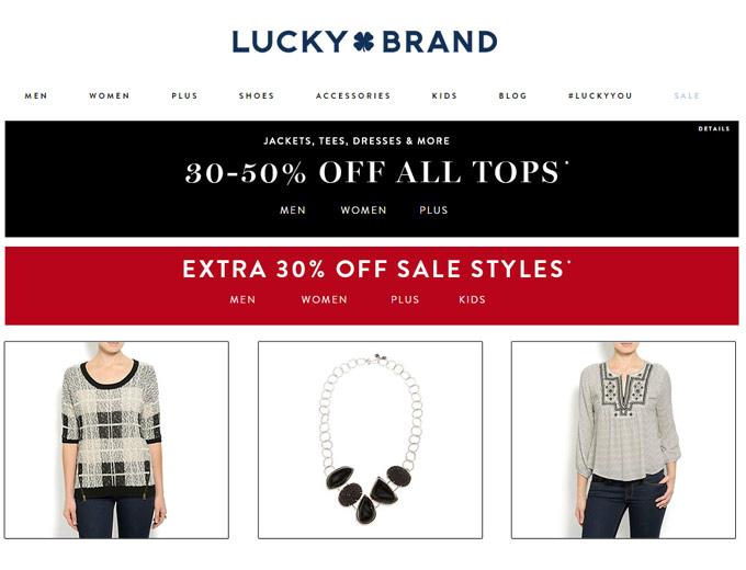 30% - 50% off Tops at Lucky Brand