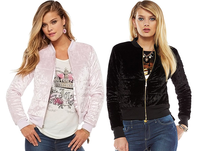 Juicy Couture Foiled Velvet Puffer Jacket