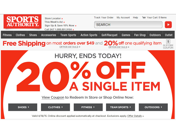 Sports Authority Sale - Extra 20% Off
