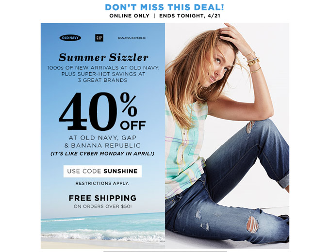 Extra 40% off Your Purchase at Gap.com